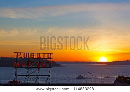 Sunset over the waters of Puget Sound in Seattle, USA