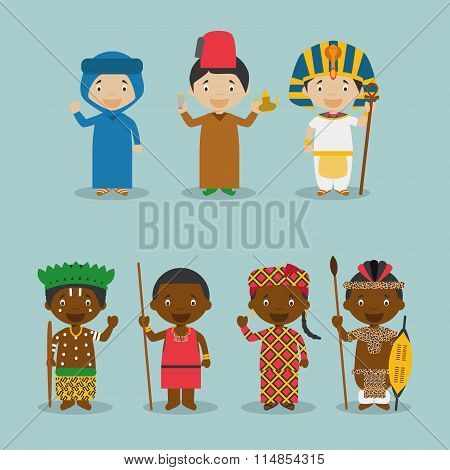 Kids and nationalities of the world vector: Africa Set 2