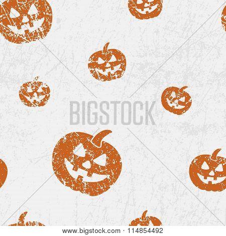Vector Seamless Halloween Pattern With Pumkins (jack Lantern). Grunge Style