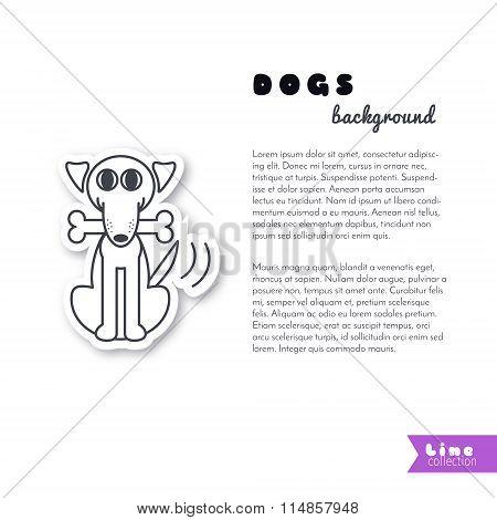 Happy dog with a bone background