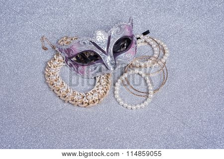 Carnival Mask  And Jewelry With Pearls   On Glitter