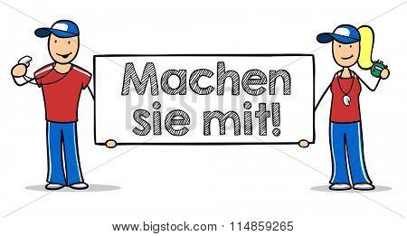 Cartoon fitness trainer holding German sign