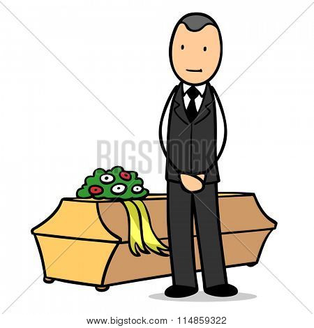 Cartoon undertaker standing next to coffin at funeral