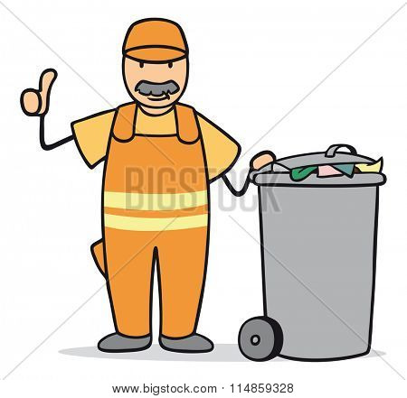 Cartoon garbageman with trash can holding thumbs up