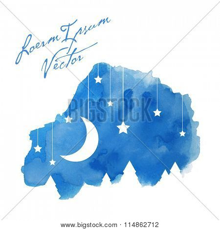 the moon and stars on painted watercolor background
