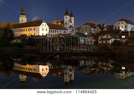 Night View Of Telc Or Teltsch Town Mirroring In Pond