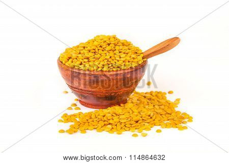 Lentils In Bowl With Spoon
