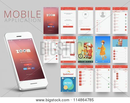 Creative web user interface layout with different application screens for smartphone.