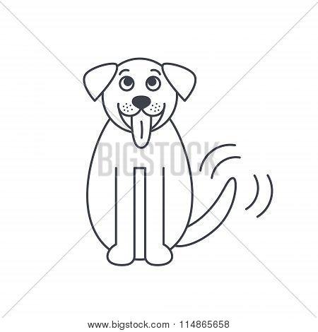 St. Bernard dog line icon.