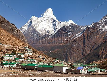 Mount Ama Dablam And Khumjung Village Near Namche Bazar