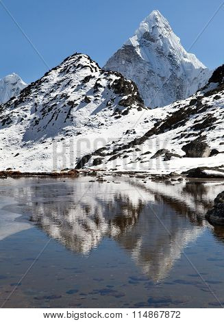 View Of Mount Ama Dablam Mirroring In Lake, Everest Area