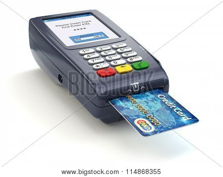 POS terminal with credit card isolated on white. Paying. 3d poster