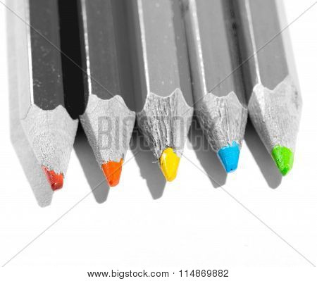 Gray Pencils With Color Slate Pencils Lie In A Row