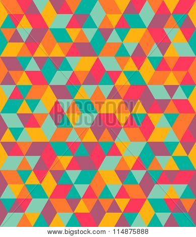 Triangle and rhombus colorful abstract seamless pattern