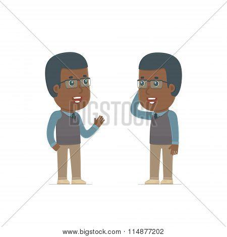 Calm Character African American Teacher Tells News To His Friend