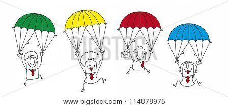 paratrooper business team. this group of businessmen and businesswomen is the ideal team for this sticky situation