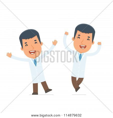 Laughing And Joyful Character Doctor Celebrates And Jumps
