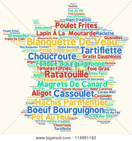 Variety of typical french food