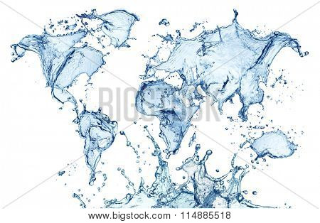 blue water splash (world map) isolated on white background