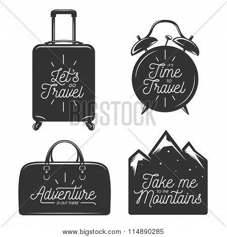 Travel typography set of design elements. Motivational quotes. Vintage vector illustration.