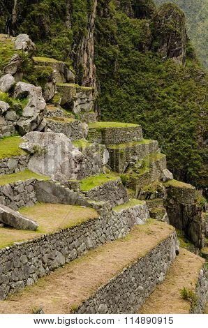 Steep terraces at the back side of ancient the Inca city Machu Picchu