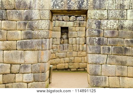 Typical doors and niches in trapezoid shape at Machu Picchu a UNESCO World Heritage site in Peru