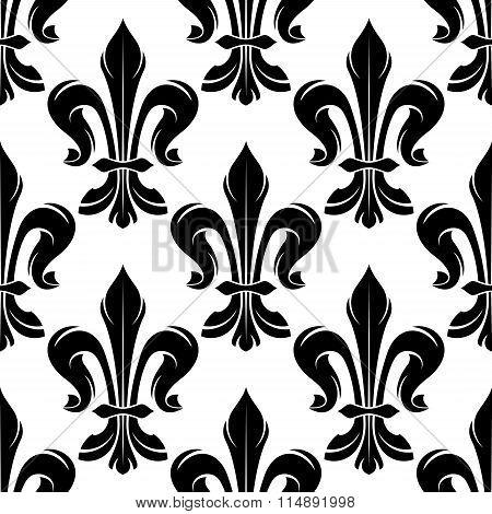 Black and white fleur-de-lis royal pattern