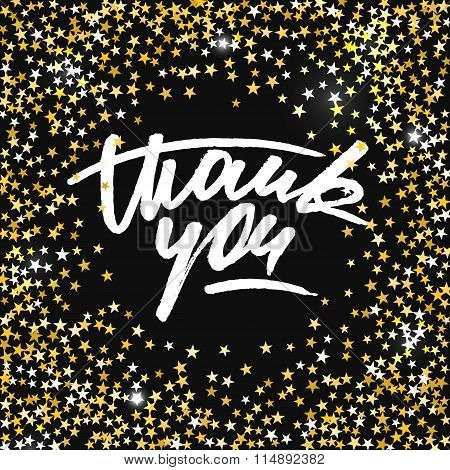 Thank You Card With Scattered Shiny Golden Star Glitter Forming A Circle