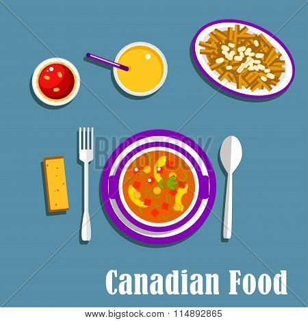 Canadian cuisine dinner dishes and drinks