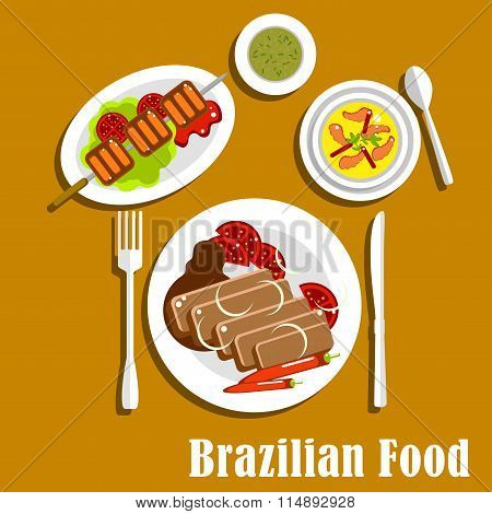Brazilian cuisine dinner dishes and snacks
