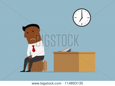 Fired cartoon dark skinned businessman packed his suitcase and sit down for a moment at his workplace for a last time after bankruptcy. Unemployment, bankrupt and jobless concept poster