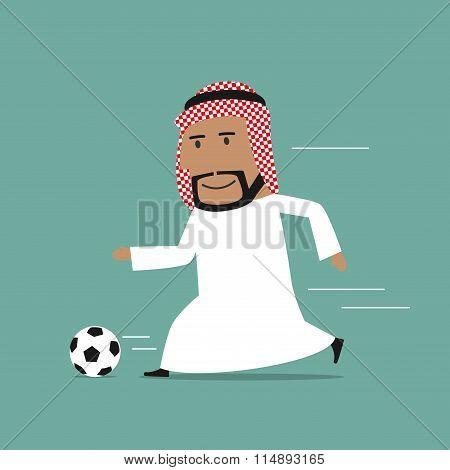 Arabian businessman running with soccer ball