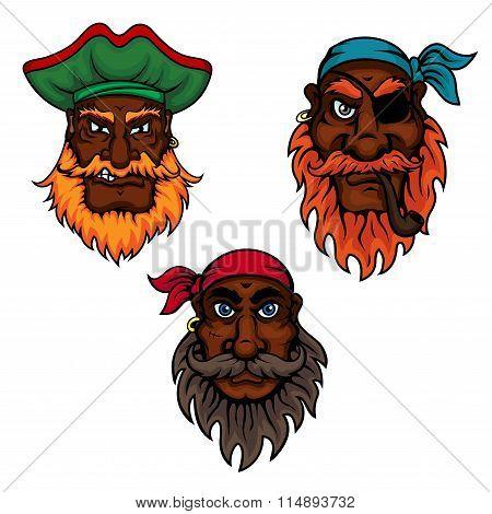 Cartoon pirate captain and sailors heads