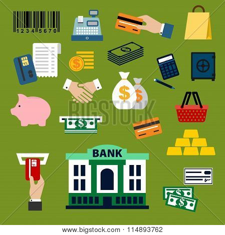 Business, finance, banking and shopping flat icons