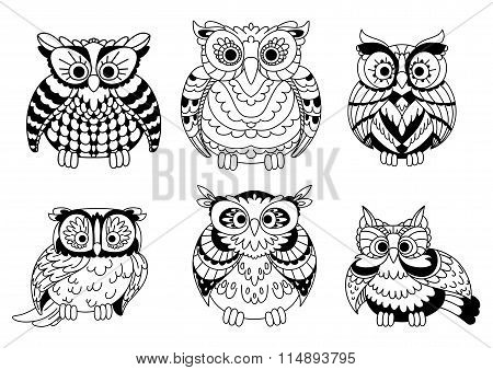 Cartoon colorless great horned owls birds