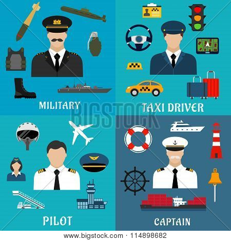 Military, captain, pilot and taxi driver icons