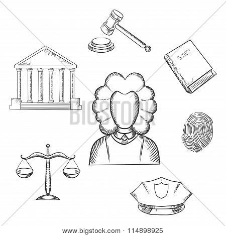 Law, judge and justice sketched icons