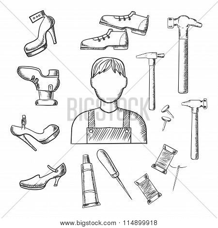 Shoemaker profession and tools sketch icons