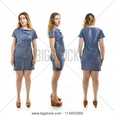 Overweight young woman, full length portrait. Front, side and back view, over white background.