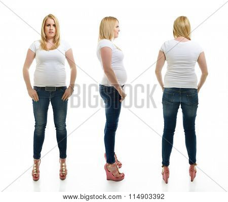 Overweight young woman wearing sportwear, full length portrait. Front, side and back view, over white background.