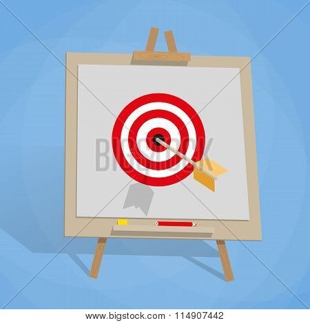 Flip chart with target, and arrow