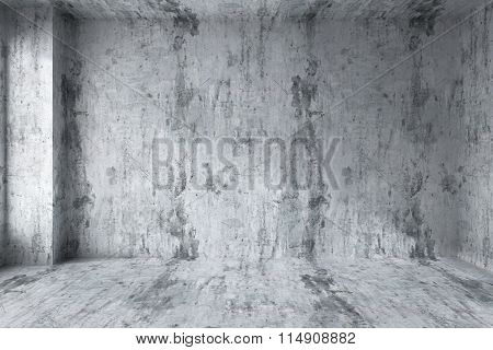 Empty Concrete Room With Corner Interior