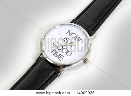 Wrist Watch With Leather Wristlet Isolated