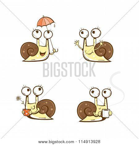 Cartoon Snails Set.