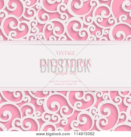 Vector Pink 3d Vintage Valentines or Invitation Cards Background with Swirl Pattern