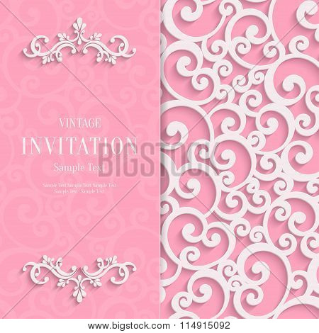 Vector Pink 3d Vintage Invitation Card with Swirl Damask Pattern