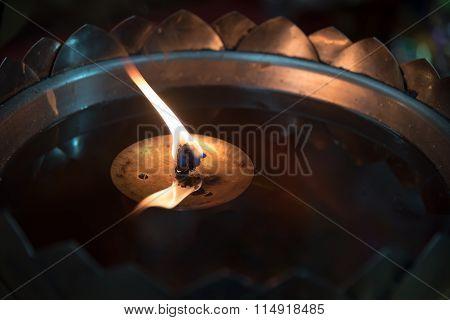 Oil Lamp In Thailand Temple