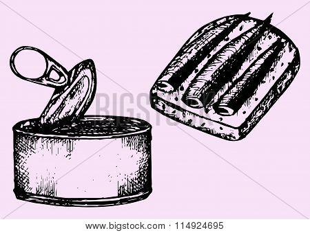 tin can, sprat, sandwich