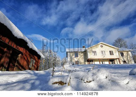 old country-menor, farm in snowy winter time, Sweden