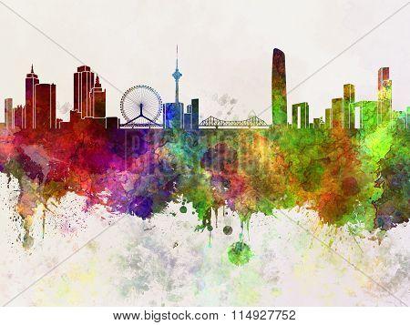 Tianjin Skyline In Watercolor Background